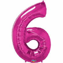 "Pink Number 6 Balloon - Foil Number Balloon 1pc (34"" Qualatex)"